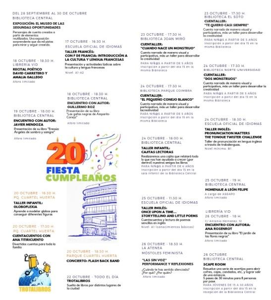 folleto RUTA DE LA PALABRA programa